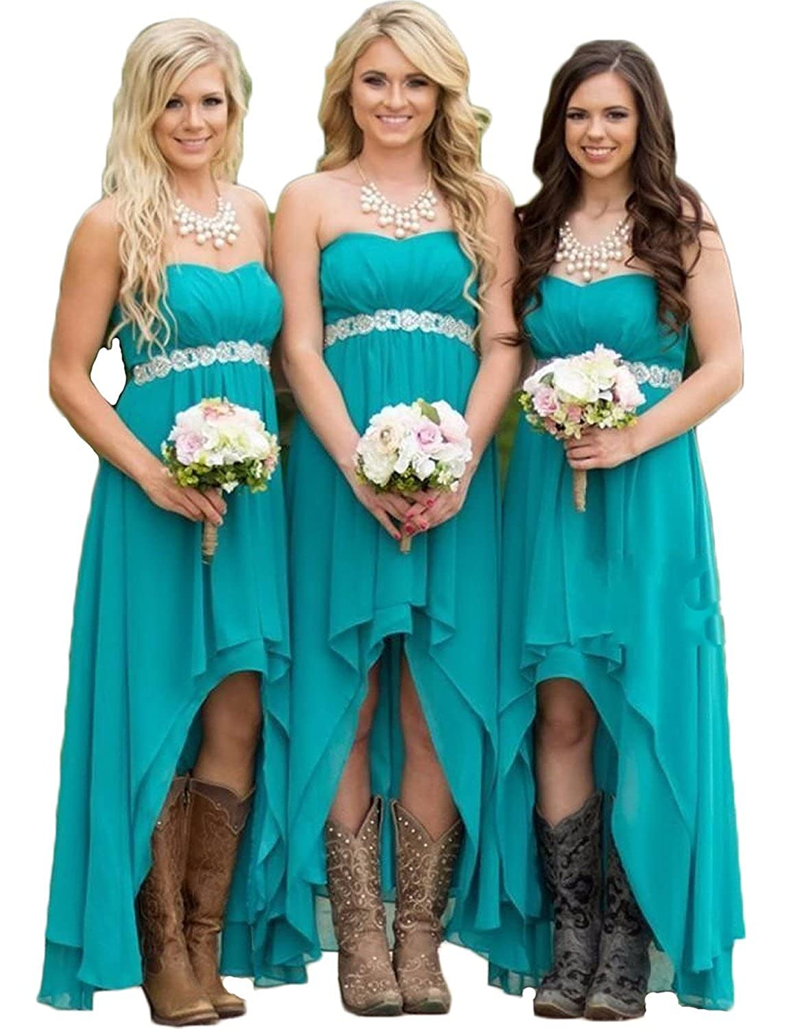 Autoalive Turquoise Sweetheart High-low Bridesmaid Dresses With ...