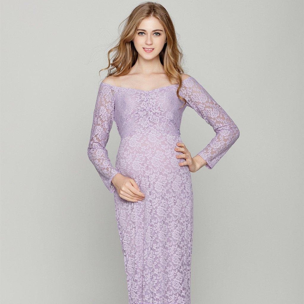 Baoblaze Embarazadas Maxi Fuera de Hombro Vestido de Fotografía Encaje Ropa de Mujer Accesorios Cómodo - Violeta, 82cm/32.28inch (tiled), ...