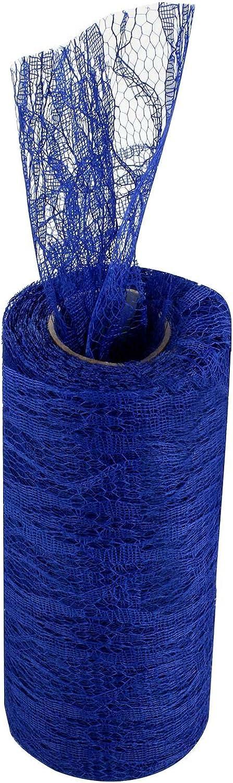 vlovelife Blanc 15,2/cm x 10yards dentelle vintage de tissu polyester Rouleau en tulle pour jupe tutu Chemin de table Noeud Chaise DIY Mariage Party Decor Art Craft
