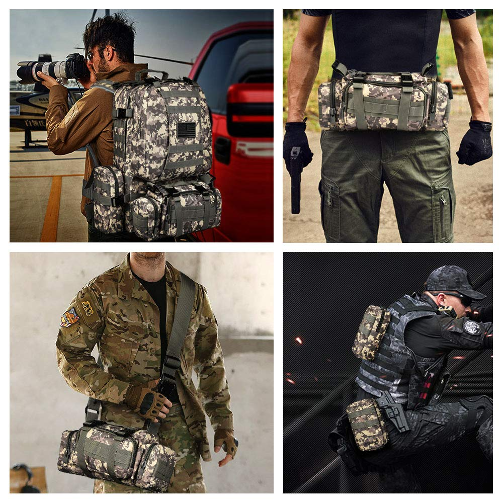 CVLIFE Tactical Military Backpack 60L Built-up Army Rucksacks Outdoor 3 Day Assault Pack Combat Molle Backpack for Hunting Hiking Fishing with Flag Patch Camouflage ACU by CVLIFE (Image #6)