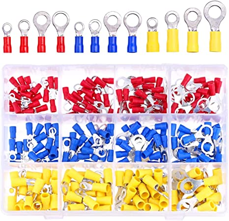 6mm Yellow Ring Crimp Terminals Qty20 Pack 8mm Stud Size.