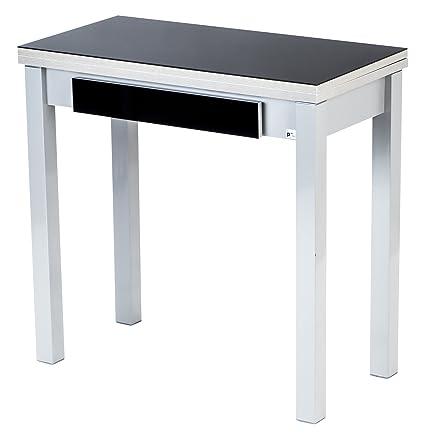 Portus Libro - Mesa de cocina, 80 x 40/80 cm, con cajón, color negro ...
