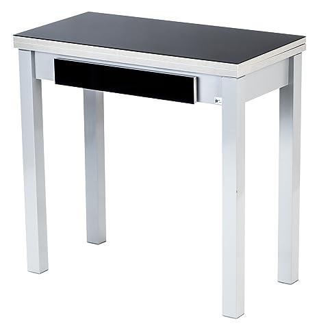 80 x 40/80 cm Portus Livre avec tiroir Noir Table de Cuisine ...