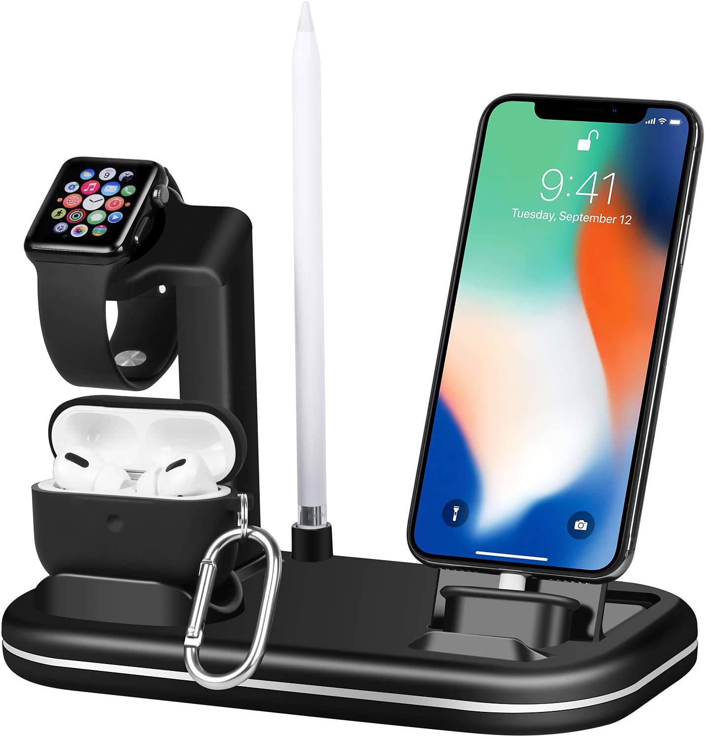 Lxtopdk for Apple Watch Charger Stand,4 in 1 Charger Charging Dock Stand Station for Apple iWatch 6/SE/5/4, Build-in Charge Cable for iPhone 12/iPad/iPod/Airpods Pro,Pencil Holder Dock-Black
