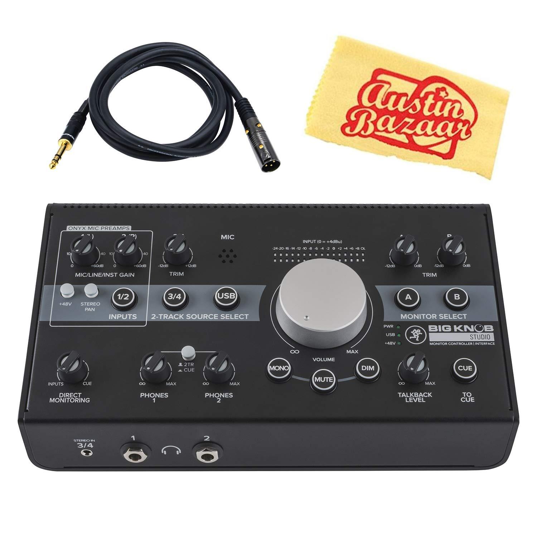 Mackie Big Knob Studio 3x2 Studio Monitor Controller/Interface Bundle with XLR-to-1/4'' Cable and Austin Bazaar Polishing Cloth by Mackie