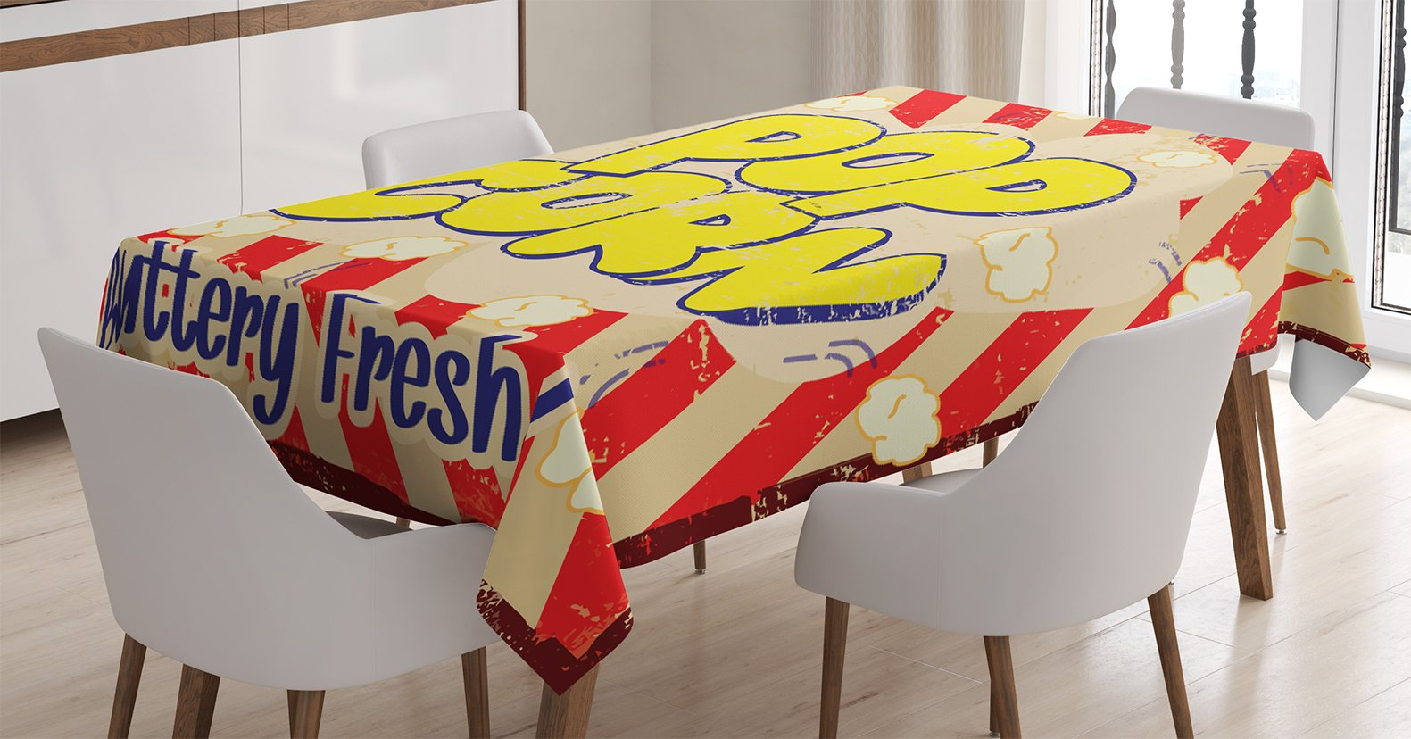 Ambesonne 1960s Decorations Tablecloth, Pop Corn Popcorn Vintage Grunge Delicious Buttery Fresh Tasty Rusty Movie Advertising Film, Dining Room Kitchen Rectangular Table Cover, 60 X 84 inches