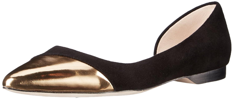 Amazon.com | Cole Haan Women's Amalia Cap Toe Skimr Ballet Flat, Black  Suede/Gold Specchio, 6 B US | Flats
