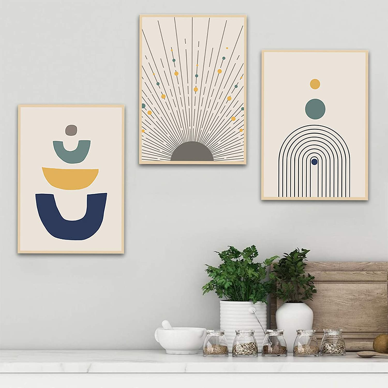Green Plant Minimalist Grey Box Stylish Abstract Gallery Wall Art Poster Print