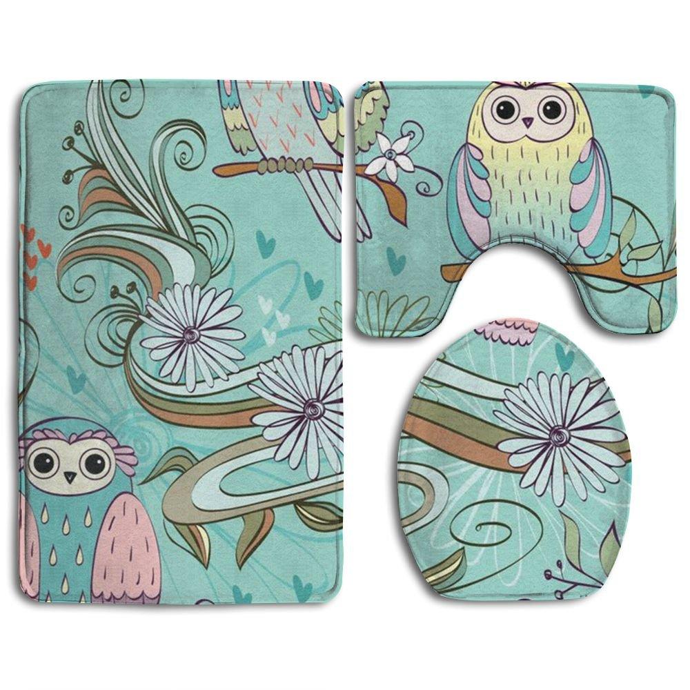Owl Animal 3 Piece Comfort Bathroom Rugs Set Shaggy Easy Care Bath Shower Mat U-shaped Lid Toilet Floor