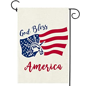 Memorial Day God Bless America Garden Flag Double Sided 4th of July Independence Day Patriotic American Yard Outdoor Decor 12 x 18 Inch