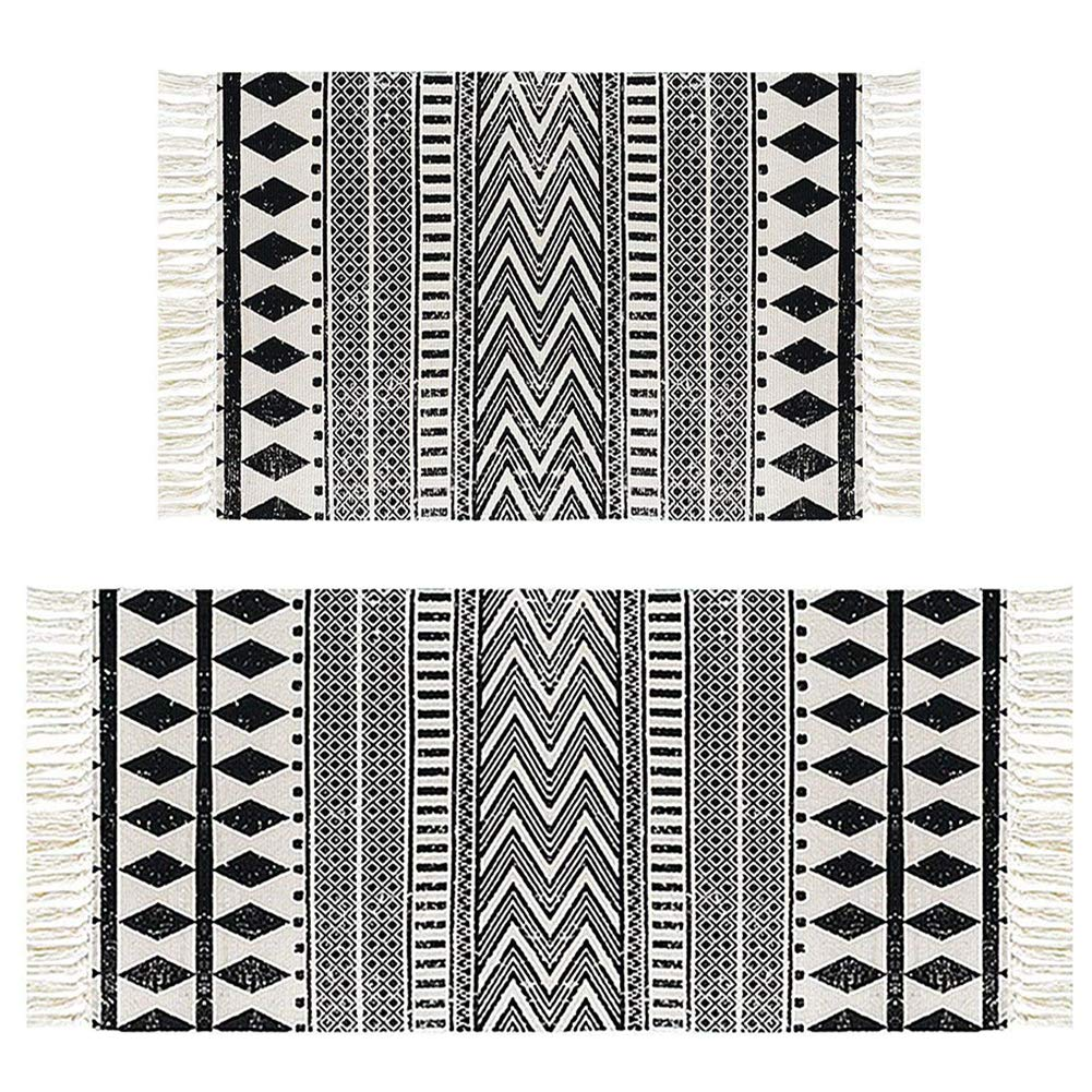 HEBE Cotton Area Rug Set 2 Piece 2'x3'+2'x4.2' Woven Cotton Area Rugs Runner Machine Washable Cotton Rug with Fringe Tassel for Living Room Bedroom Kitchen