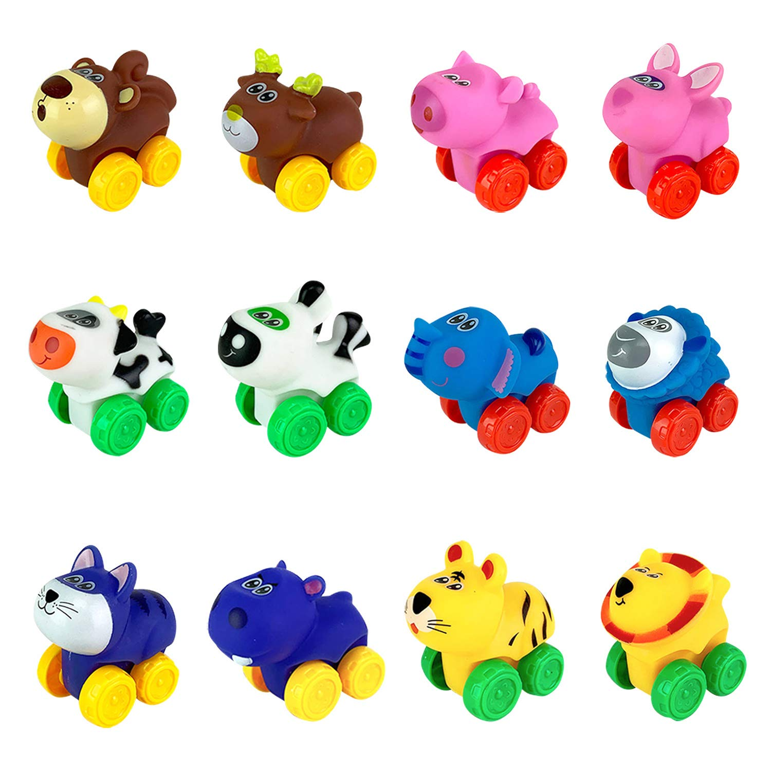 Liberty Imports 12 Pack Soft Rubber Baby Toy Cars in Bucket   Cartoon Animal Vehicles Push and Go with Wheels for Babies Toddlers and Kids 1 Dozen