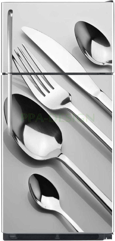 Fond Blanc Sticker Cuisine Frigo Couverts 70x170cm SAEFR1044
