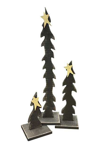 primitive christmas decoration set of 3 wooden christmas trees with stars amish made in - Primitive Christmas Tree Decorations