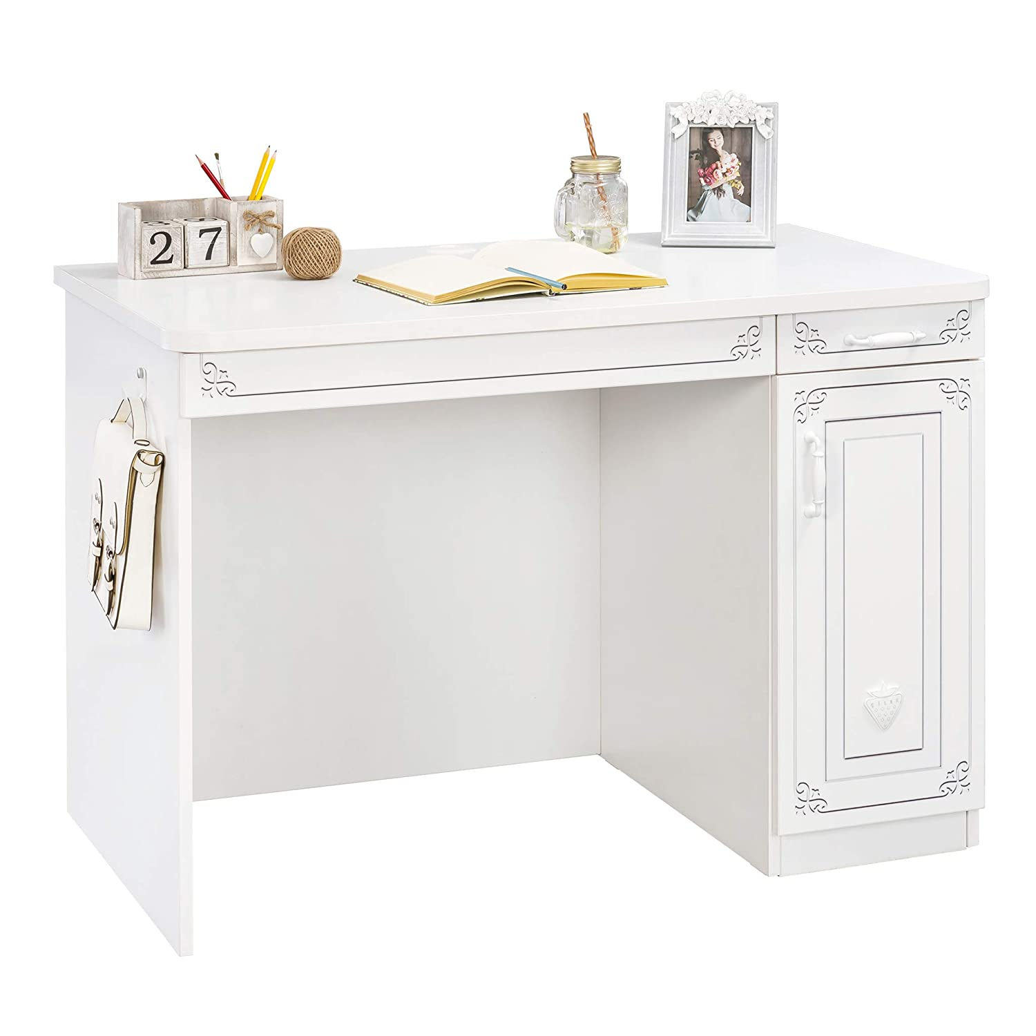 Amazon.com: Cilek Selena Study Desk with Cabinet and Drawers ...