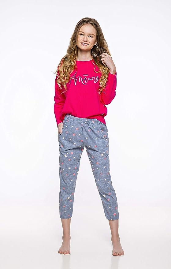 TARO Pijamas Niñas Verano Manga Corta Conjunto de Pijama para Mujer 2 Piezas de Ropa de Dormir Algodón Suave