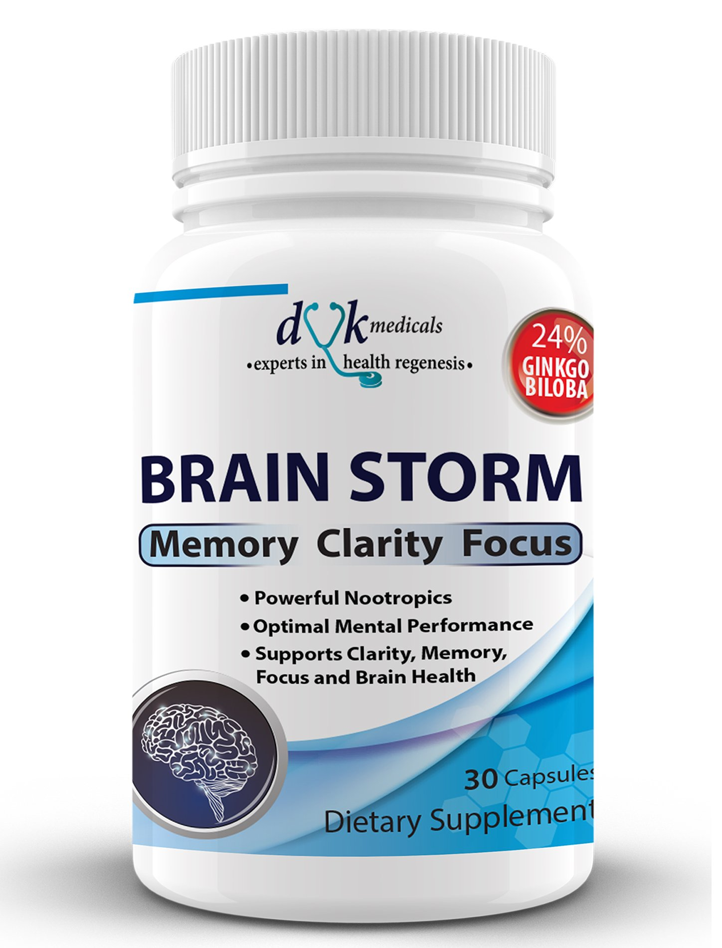 Brain Storm: Advanced Nootropic from DVK Medicals : Nerve support formula for Brain health: Support Memory, Focus, Clarity, Mood and Mind.