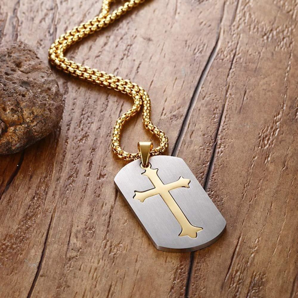 Titanium Steel Necklace Men and Women Simple Punk Fashion Golden Cross Pendant Trend Gift Creative Personality Vintage Pop