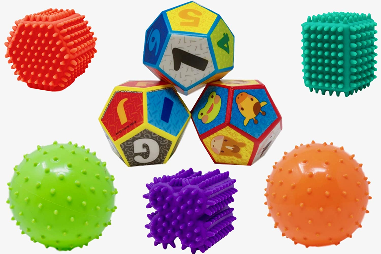 Colors May Vary KT Sensory Knobby Ball Shapes and Foamy Dice Combo for Children Ages 3+
