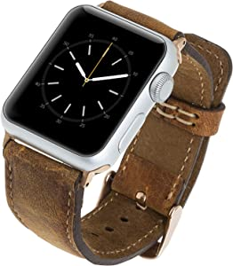 Venito Tuscany Leather Watch Band Compatible with Apple Watch 38mm 40mm - Watch Strap designed for iwatch Series 1 2 3 4 5 6 SE (Antique Brown w/Rose Gold Connector&Clasp)