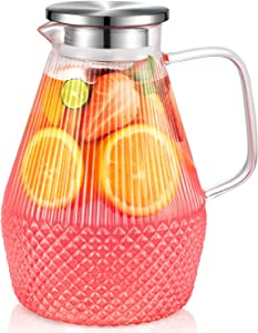 Glass Pitcher, veecom 80oz Glass Pitcher with Lid and Spout, Large Glass Water Pitcher for Juice, Lemonade, Hot&Cold Beverage, Iced Tea Pitcher for Fridge, Heat Resistant Glass Carafe with Brush