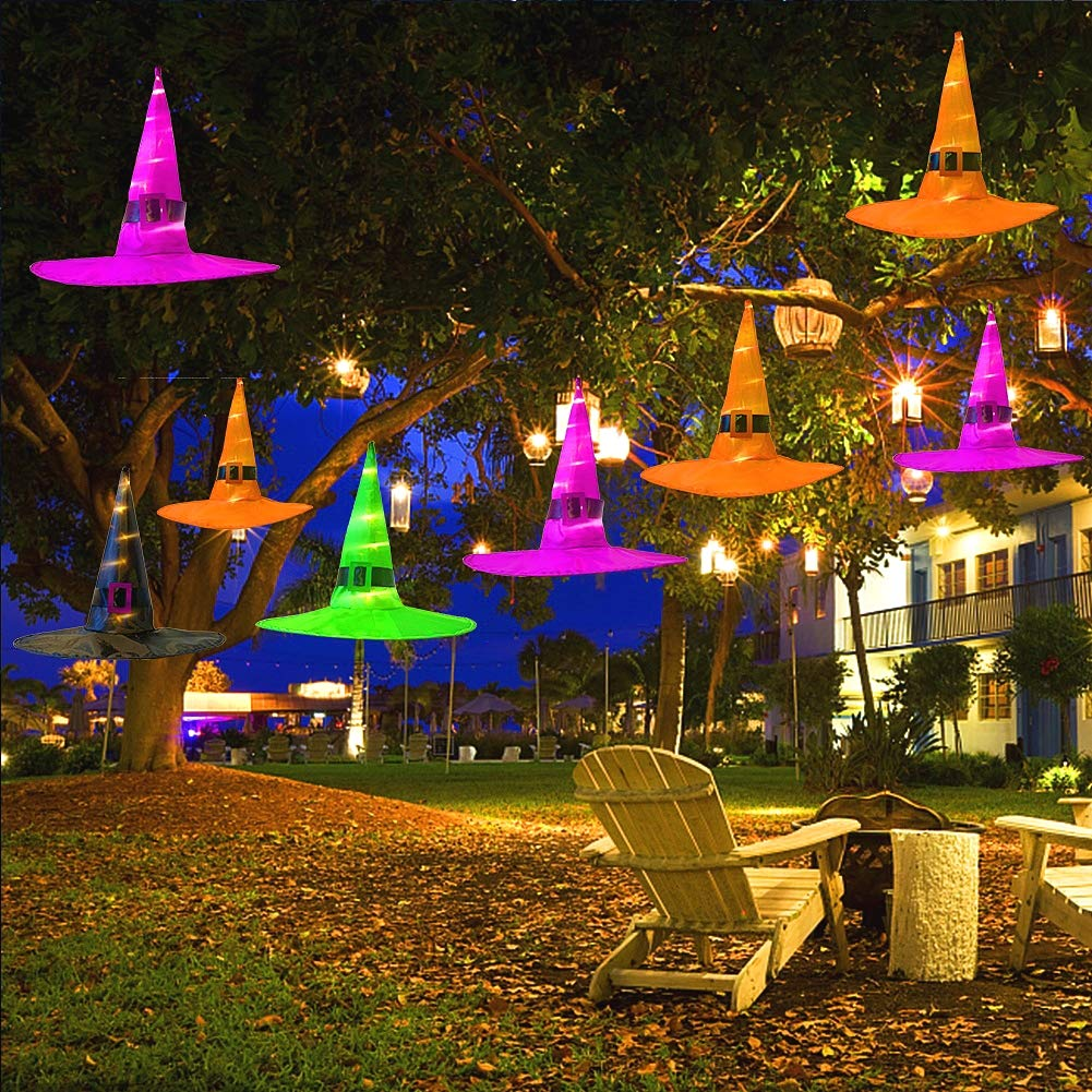 Maoyue Halloween Decorations Outdoor 8pcs Hanging Lighted Glowing Witch Hat Decorations 36ft Halloween Lights String Battery Operated Halloween Decor
