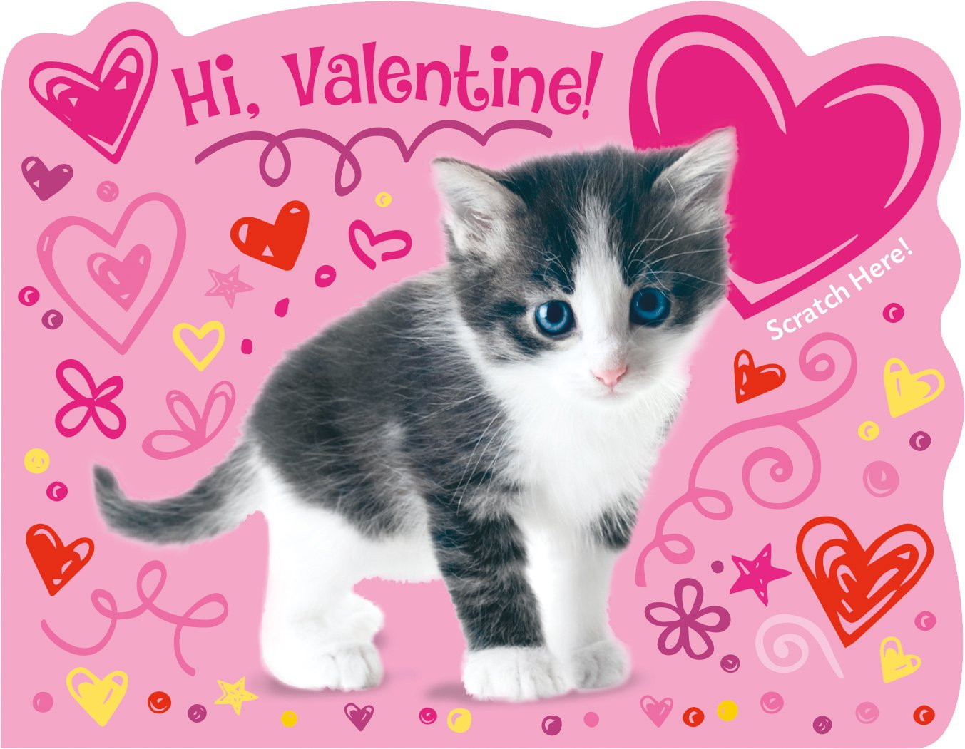 Peaceable Kingdom Kitty Strawberry Scented Scratch /& Sniff Valentine Cards