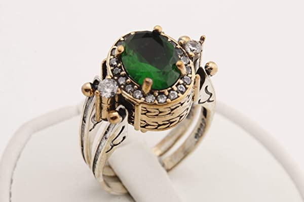 Turkish Handmade Special Design Jewelry 2 rings in 1 ring Reversible Oval Cut Emerald Topaz 925 Sterling Silver Ladie's Ring All Size