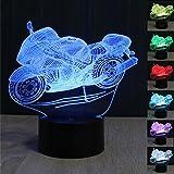 3D Illusion Lampe Motorrad LED Nachtlicht, USB-Stromversorgung 7 Farben Blinken Berührungsschalter Schlafzimmer Schreibtischlampe für Kinder Weihnachts geschenk
