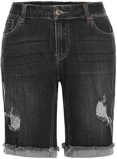 Amazon Com Msshe Pantalones Vaqueros Cortos Para Mujer Talla Grande Bermudas Clothing