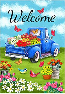 Morigins Welcome Flower Truck Garden Flag Spring Old Truck Blue Daisy House Yard Flag 12.5x18 Inch