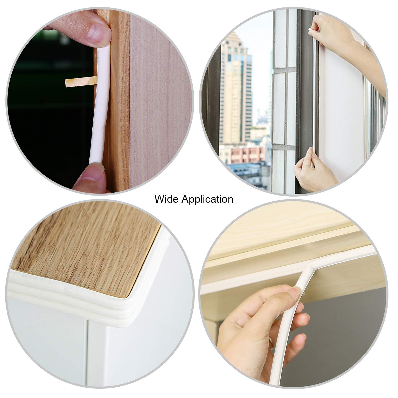 OOTSR Mousse Bande d/étanch/éit/é Auto-adh/ésif EPDM Portes Fen/être D/écapage de Temps En Caoutchouc Joint de en Insonorisation Anti-Collision Coupe-Froid Bande 6m x 2 Joints Blanc