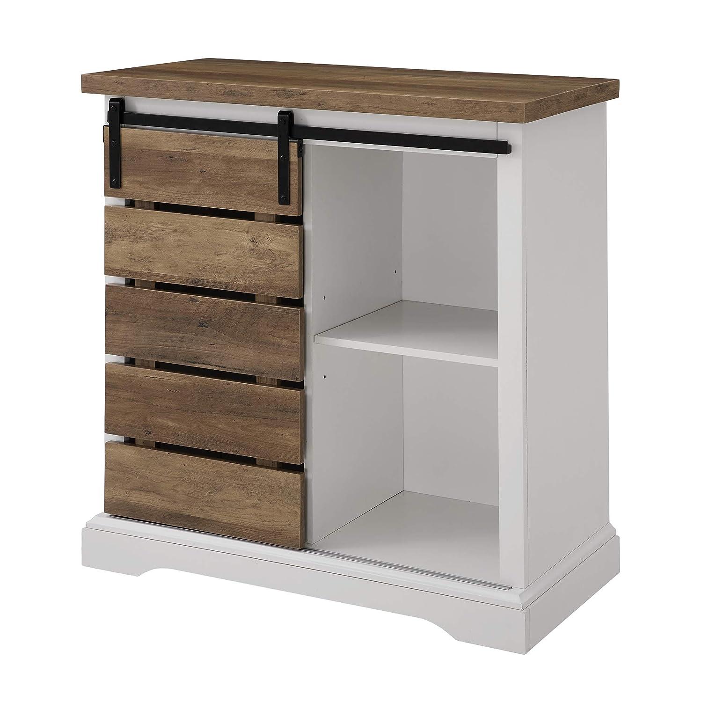 WE Furniture Buffet, 32 , Solid White Rustic Oak