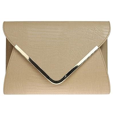 87ac0a60932c Wocharm Ladies Croc Black White Navy Blue Gold Grey Red Ivory Envelope  Clutch Bag Womens Evening
