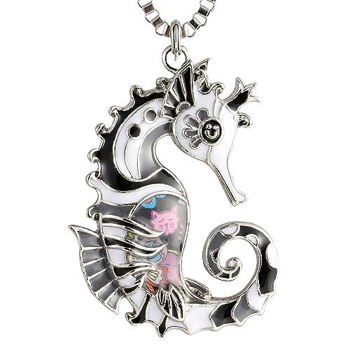 Luckeyui Seahorse Necklace For Women Birthday Men Unique Enamel Sea Life Gifts Jewelry Black