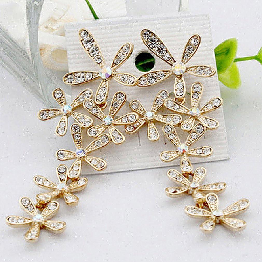 Gleader Pendientes Largo Cristal Diamantes Flores Borla para Boda Fiesta - Oro