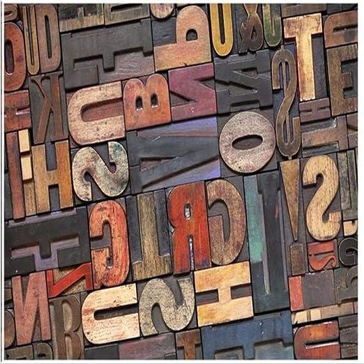 Papel pintado Papel tapiz fotográfico Letra de madera estéreo 3D ...