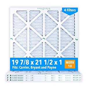 Glasfloss 19-7/8 x 21-1/2 x 1 MERV 10 Air Filters, Pleated, Made in USA (Case of 4) Fits Listed Models of Carrier, Bryant & Payne, Removes Dust, Pollen & Many Other Allergens.