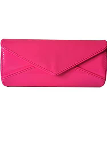 Neon Pink Envelope Clutch Bag, Hot Pink Evening Bag, Large Glossy ...