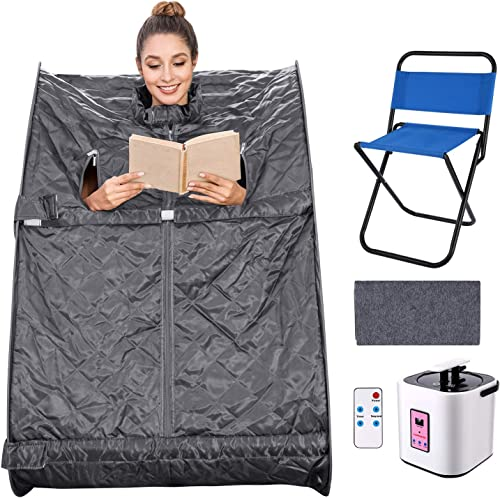 elifine Portable Steam Sauna Spa Home 2L Personal Therapeutic Sauna with Remote Control One Person Sauna Tent with Foldable Chair Timer Dark Silver