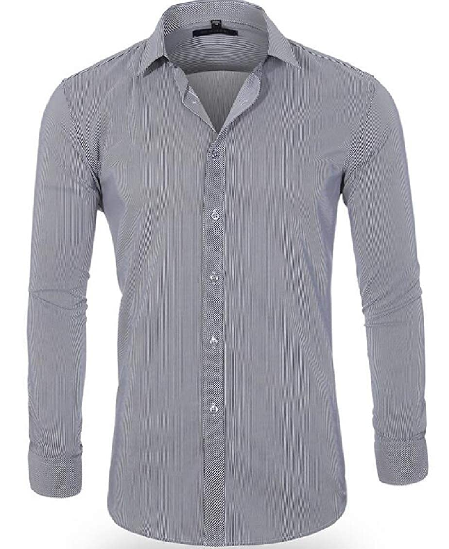 Fubotevic Mens Cotton Long Sleeve Lapel Slim Fit Casual Non-Iron Button Down Solid Shirt