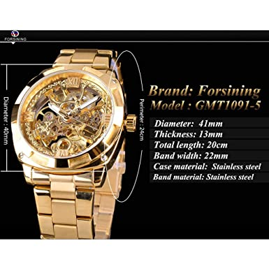 Amazon.com: Minipoco Automatic Mechanical Watch Mens Hollow Waterproof Steel Belt Mens Watch Automatic Mechanical Mens Watch Luxury Stainless Steel ...