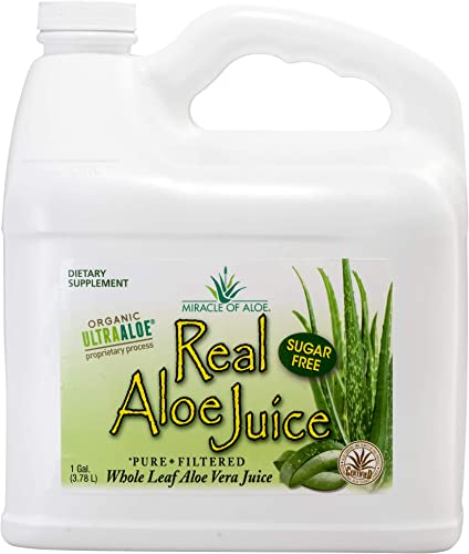 Real Aloe Whole-Leaf Pure Aloe Vera Juice – Made from Organically Grown Aloe Vera Leaves Purified Filtered 1 Gallon