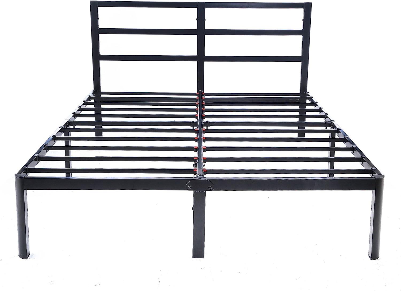 V LX 14 inch Tall Heavy-Duty Steel Slats 1.0T Steel Frame V1402 Head Support Bed Frame Platform Bed King