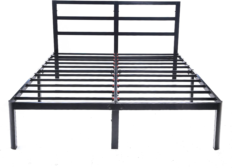 EG EAGOLE 14 Tall Metal Slat 3S Bed Frame Platform Bed, No Box Spring Needed , Queen