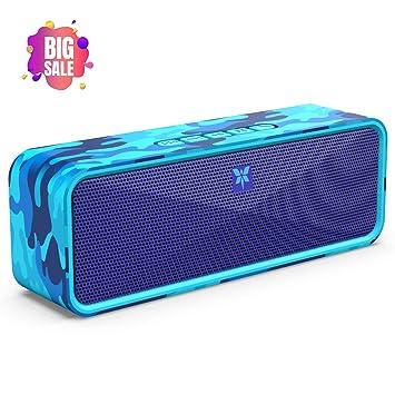 Altavoz Bluetooth Portátil 5.0, Axloie Altavoz Inalámbrico con HD Sonido Estéreo 12 Horas de Reproducción Micrófono Incorporado Manos Libres Llamada y ...
