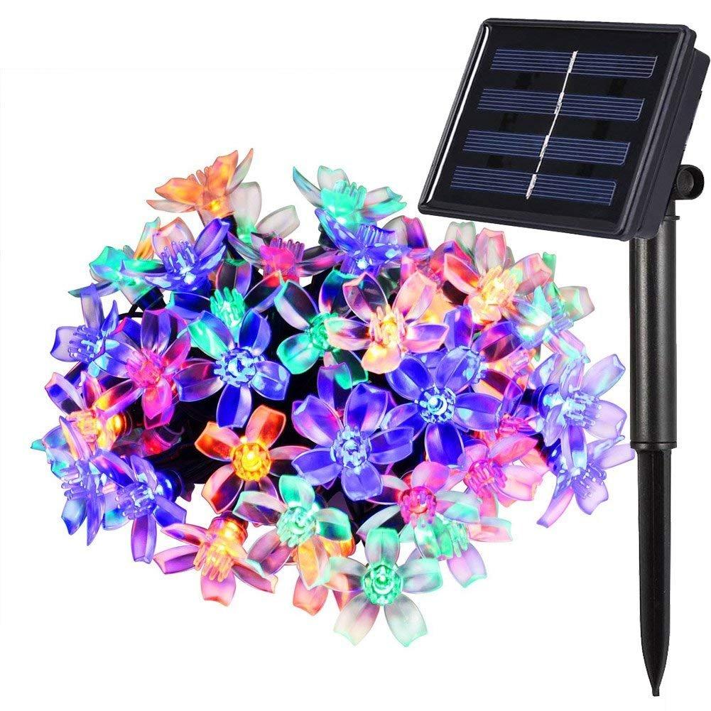 Qedertek Luci Giardino Energia Solare 7M 50 LED Luci Stringa Solare con Fiore Luce Solare Led Bianca Esterno Catena Luminosa Impermeabile IP65 Luci Stringa Solare Led per Esterno Giardino Terrazza Patio Piscina