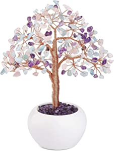 Top Plaza Reiki Healing Crystals Money Tree Gemstone Stone Tree Feng Shui Good Luck Wealth Figurine Decor for Home Office Living Room Decoration 7.5 Inches - Mix Crystals #1