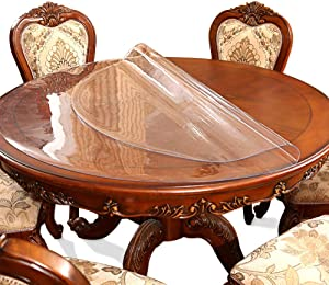 48 Inch 4FT Round Dia Clear Protector Tablecloth Cover Desk Top Pad Mat for Glass Furniture Kitchen Coffee Marble End Bed Sofa Side Bistro Bar Night Stand Dinner Dining Table Thick Plastic PVC Vinyl