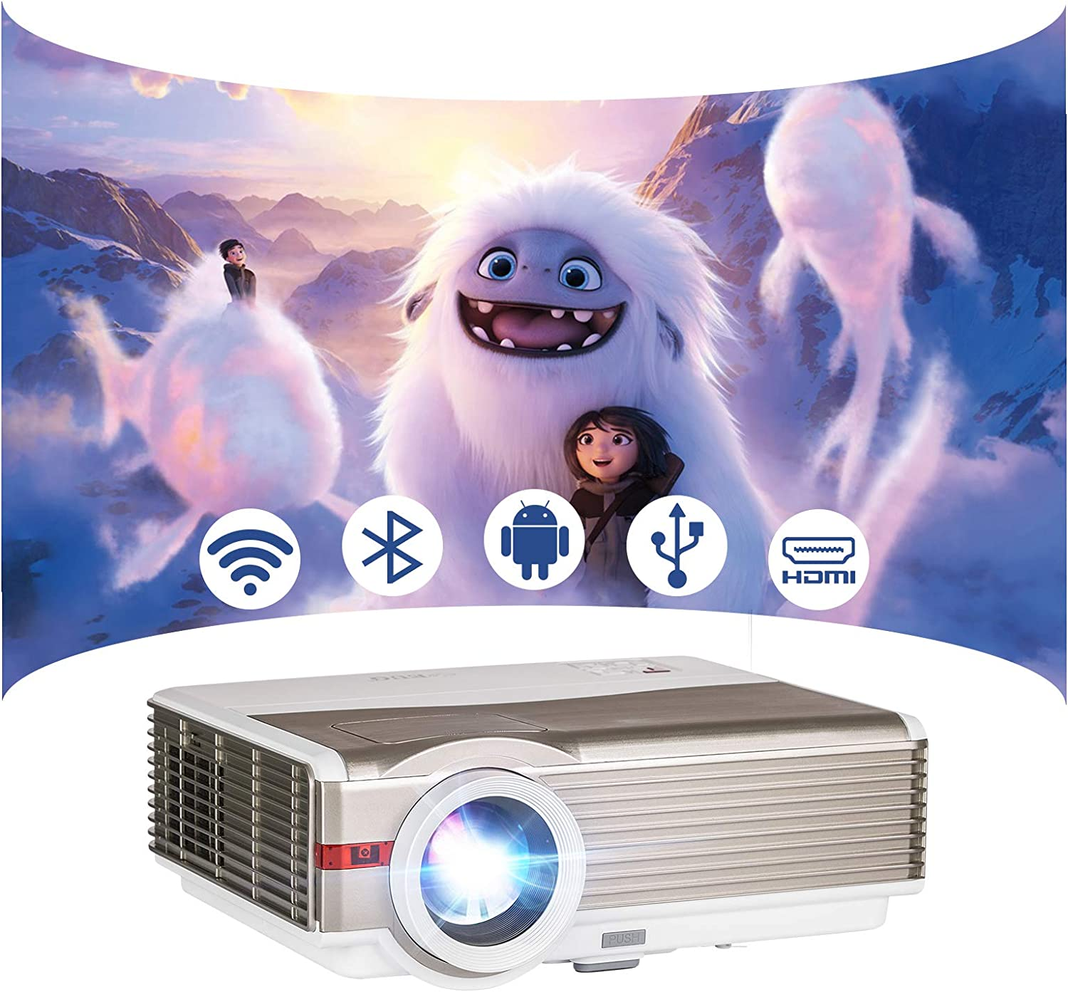 EUG LED WiFi Bluetooth Projector, Full HD 1080P Supported 5000lm High Definition HDMI Multimedia Video Projectors for Gaming Movie Home Theater Wireless Comptible with iPhone Smartphone USB